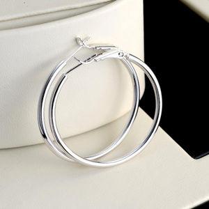 """18k White Gold Filled Hoop Earrings 40mm 1.57"""""""